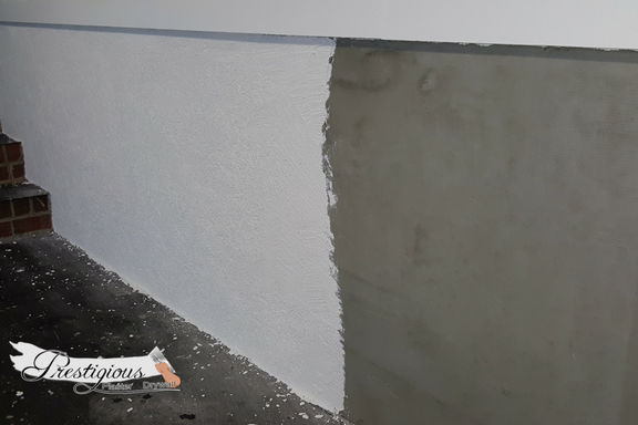 Prestigious Plastering and Drywall: applying Mesh and base coat for EIFS synthetic Stucco
